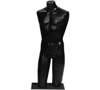 Pin Base Male Torso Mannequin - Black