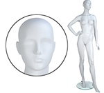 Female Mannequin: Hand on Hip, Leg Forward, Abstract head