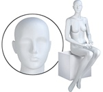 Female Mannequin: Seated, Hands on Lap, Abstract Head