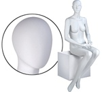 Female Mannequin: Seated, Hands on Lap, Oval Head