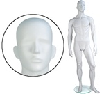 Male Mannequin: Arms by Side, Legs Forward, Abstract Head