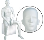 Male Mannequin: Seated, Abstract Head