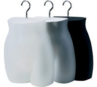 Ladies Half-Round Hanging Hip Mannequin - Pkg of 12 Black