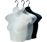 Ladies Half-Round Hanging Shirt Mannequin - Pkg of 12 White