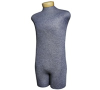 "Men's 3/4 Torso Classic Paper Mache Mannequin Form  - 7/8"" - Grey"