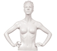 Female Mannequin Arms: Hands on Hips - White