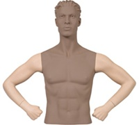 Male Mannequin Arms: Hands on Hips - Fleshtone