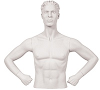 Male Mannequin Arms: Hands on Hips - White